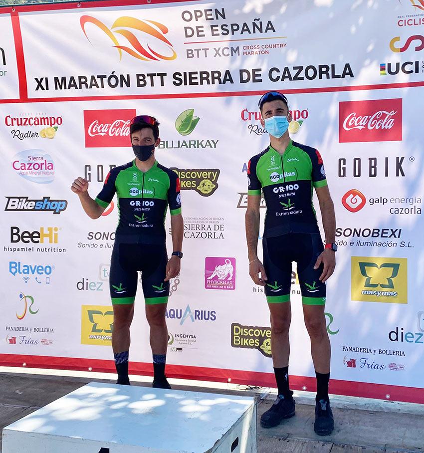 Cordero y Benavides en el podio de Cazorla